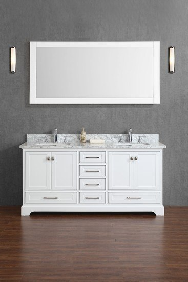 Stufurhome Hd 7130w 72 Cr Newport White 72 Double Sink Bathroom Vanity With Mirror