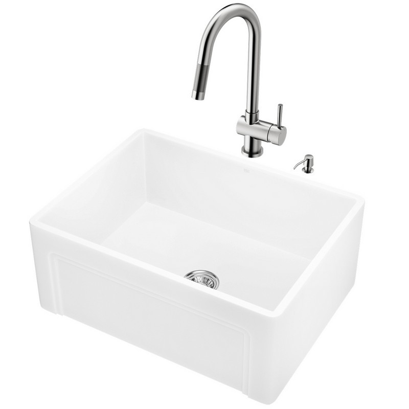 Rohl RC2418 Shaws Original 24 Inch Lancaster Single Bowl Apron Front  Fireclay Kitchen Sink