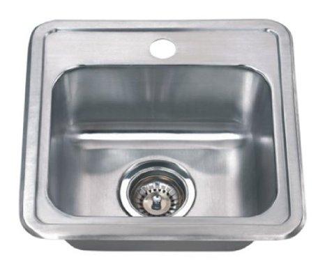 Wells Sinkware CMT1515-6-1 Craftsmen Series 22-Gauge Single Bowl Top-Mount Kitchen Sink, Stainless Steel