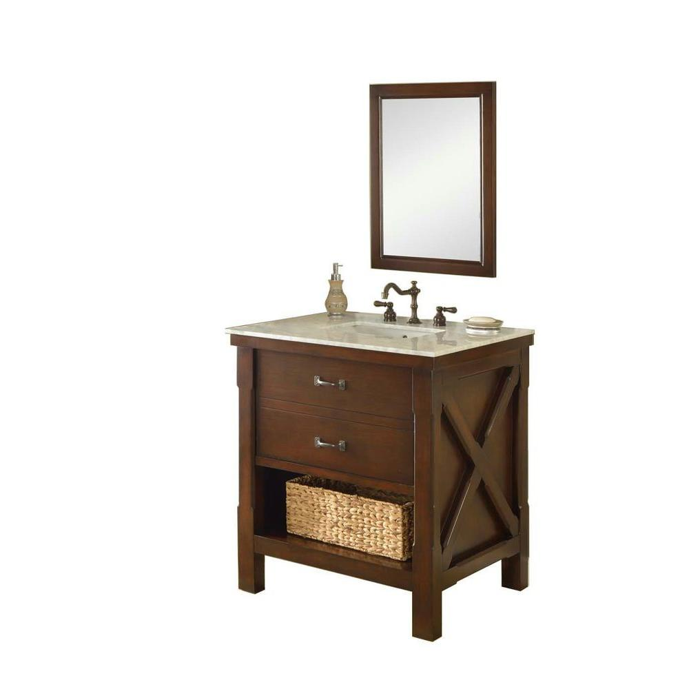DIRECT VANITY SINK 32S1-ESWC-M XTRAORDINARY SPA 32 INCH DARK BROWN VANITY WITH CARRARA WHITE TOP AND MIRROR
