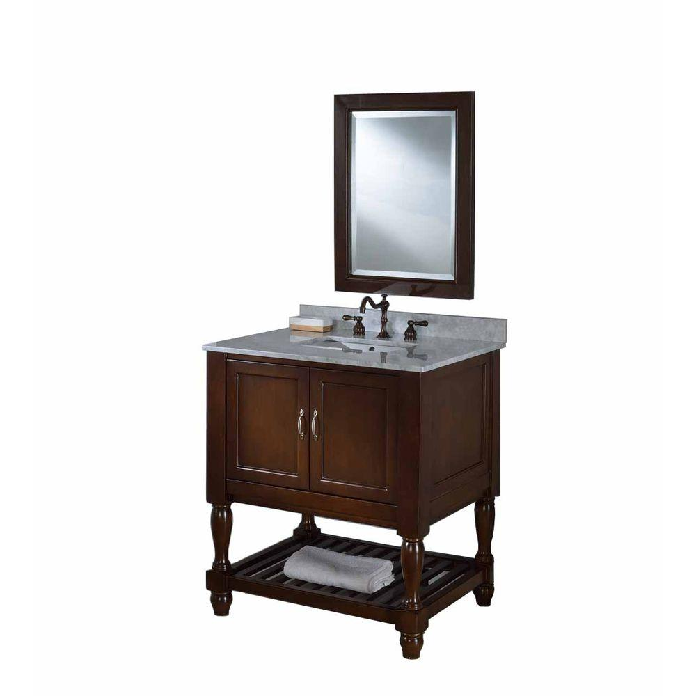 DIRECT VANITY SINK 32S10-ESWC-M MISSION TURNLEG SPA 32 INCH DARK BROWN VANITY WITH CARARRA WHITE TOP AND MIRROR