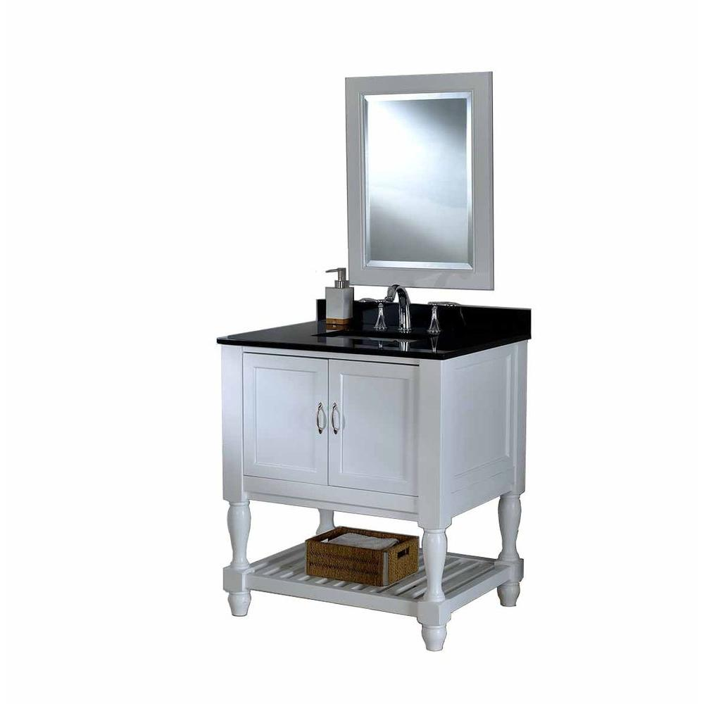 DIRECT VANITY SINK 32S10-WBK-M MISSION TURNLEG SPA 32 INCH WHITE VANITY WITH BLACK TOP AND MIRROR