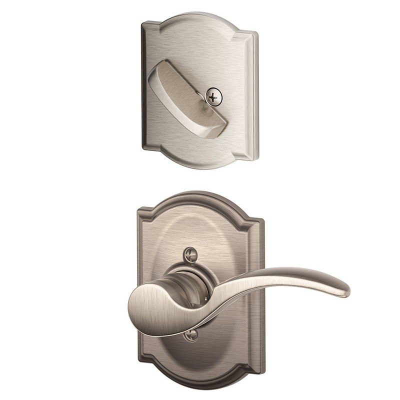 Schlage Residential F59STACAMLH F Series St. Annes with Camelot Rose Door Lock Interior Trim