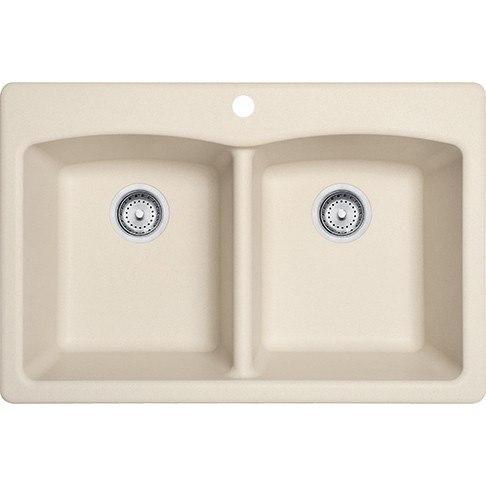 Franke ELG62D91-LIN Ellipse 33 Inch Dual Mount Double Bowl Granite Kitchen Sink in Linen