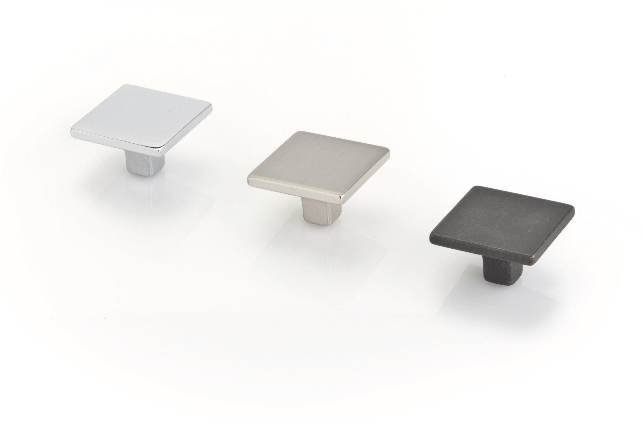 Topex 1081735C40 Small Square Knob 1 3/8 Inches Bright Chrome