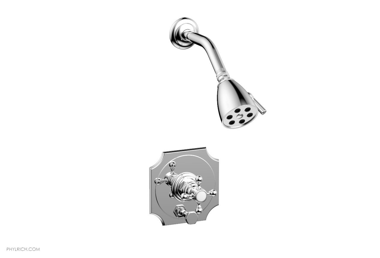 PHYLRICH 4-161 HENRI WALL MOUNT PRESSURE BALANCE SHOWER AND DIVERTER SET WITH CROSS HANDLE