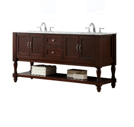 DIRECT VANITY SINK 6070D10-ESWC MISSION TURNLEG 70 INCH DARK BROWN VANITY WITH WHITE CARRARA MARBLE TOP