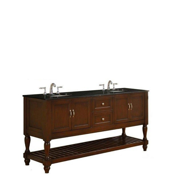 DIRECT VANITY SINK 6070D10-ESBK MISSION TURNLEG 70 INCH DARK BROWN VANITY WITH BLACK GRANITE TOP