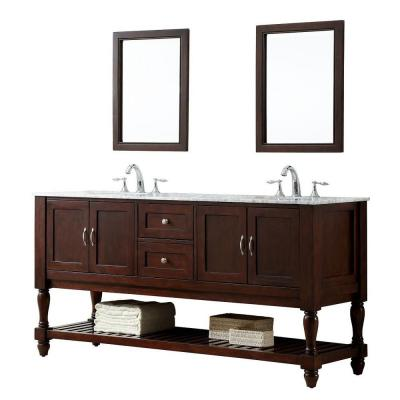 DIRECT VANITY SINK 6070D10-ESWC-2M MISSION TURNLEG 70 INCH DARK BROWN VANITY WITH WHITE CARRARA MARBLE TOP AND MIRRORS
