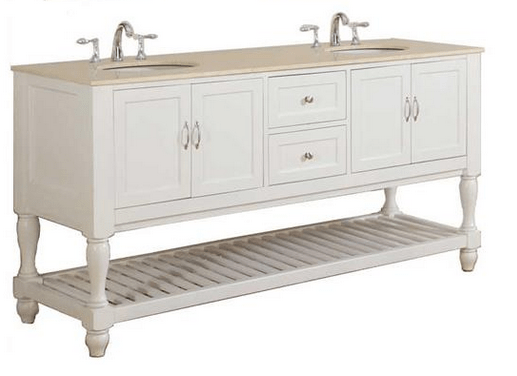 DIRECT VANITY SINK 6070D10-WB MISSION TURNLEG 70 INCH WHITE DOUBLE VANITY WITH BEIGE VANITY TOP