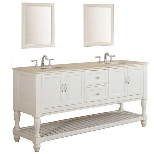 DIRECT VANITY SINK 6070D10-WB-2M MISSION TURNLEG 70 INCH WHITE DOUBLE VANITY WITH BEIGE VANITY TOP AND MIRRORS
