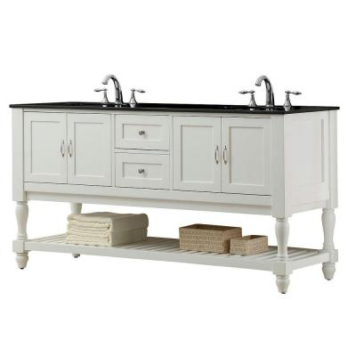 DIRECT VANITY SINK 6070D10-WBK MISSION TURNLEG 70 INCH WHITE DOUBLE VANITY WITH BLACK GRANITE VANITY TOP