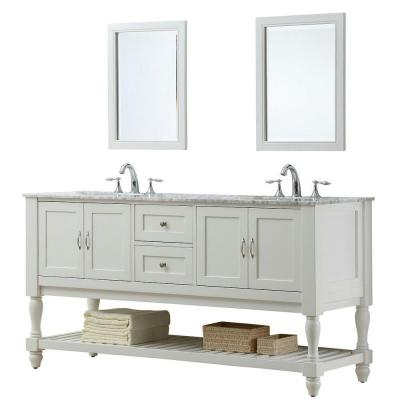 DIRECT VANITY SINK 6070D10-WWC-2M MISSION TURNLEG 70 INCH WHITE VANITY WITH CARRARA WHITE TOP AND MIRRORS