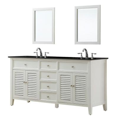 DIRECT VANITY SINK 6070D12-WBK-2M SHUTTER 70 INCH WHITE VANITY WITH BLACK GRANITE TOP AND MIRRORS