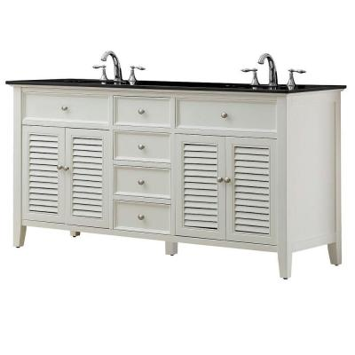 DIRECT VANITY SINK 6070D12-WBK SHUTTER 70 INCH WHITE VANITY WITH BLACK GRANITE TOP
