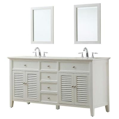 DIRECT VANITY SINK 6070D12-WW-2M SHUTTER 70 INCH WHITE VANITY WITH WHITE MARBLE TOP AND MIRRORS