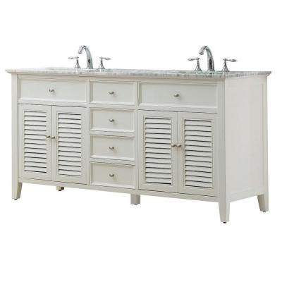 DIRECT VANITY SINK 6070D12-WWC SHUTTER 70 INCH WHITE VANITY WITH WHITE CARRARA MARBLE TOP