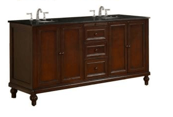 DIRECT VANITY SINK 6070D9-ESBK CLASSIC 70 INCH VANITY IN DARK BROWN WITH GRANITE VANITY TOP IN BLACK