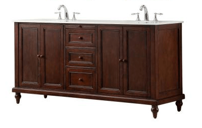 Direct Vanity Sink 6070d9 Est Classic 70 Inch Double Vanity In Dark Brown With White Marble