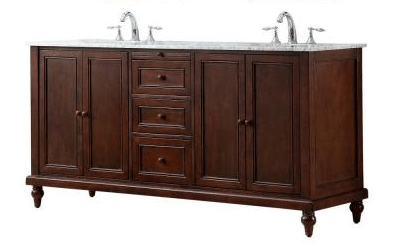DIRECT VANITY SINK 6070D9-ESTC CLASSIC 70 INCH DARK BROWN VANITY WITH MARBLE CARRARA WHITE VANITY TOP