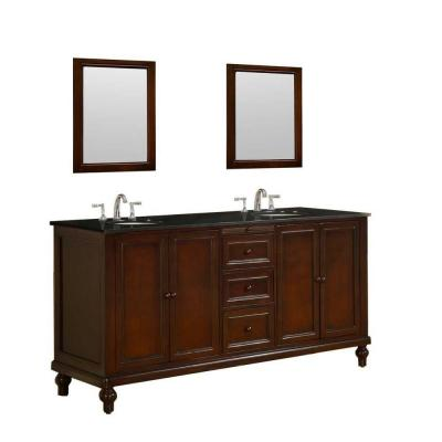 DIRECT VANITY SINK 6070D9-ESBK-2M CLASSIC 70 INCH VANITY IN DARK BROWN WITH GRANITE VANITY TOP IN BLACK AND MIRRORS