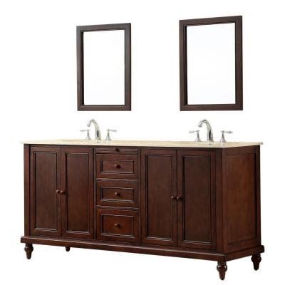 DIRECT VANITY SINK 6070D9-ESW-2M CLASSIC 70 INCH DARK BROWN VANITY WITH BEIGE MARBLE VANITY TOP AND MIRRORS