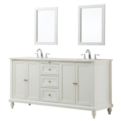 DIRECT VANITY SINK 6070D9-WT-2M CLASSIC 70 INCH PEARL WHITE DOUBLE VANITY WITH WHITE MARBLE TOP AND MIRRORS