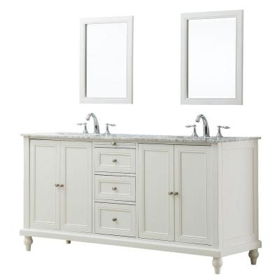 DIRECT VANITY SINK 6070D9-WTC-2M CLASSIC 70 INCH PEARL WHITE DOUBLE VANITY WITH WHITE CARRARA MARBLE TOP AND MIRRORS