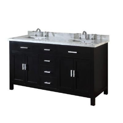 DIRECT VANITY SINK 63D7-EWC-NOWM-LM SUTTON SPA 63 INCH EBONY VANITY WITH WHITE CARRERA MARBLE TOP