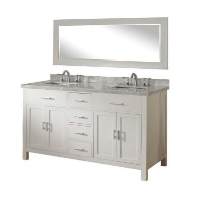 DIRECT VANITY SINK 63D7-WWC-NOWM SUTTON SPA 63 INCH PEARL WHITE VANITY WITH WHITE CARRARA MARBLE AND MIRROR