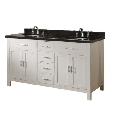 DIRECT VANITY SINK 63D7-WBK-NOWM-LM SUTTON SPA 63 INCH PEARL WHITE VANITY WITH BLACK GRANITE TOP