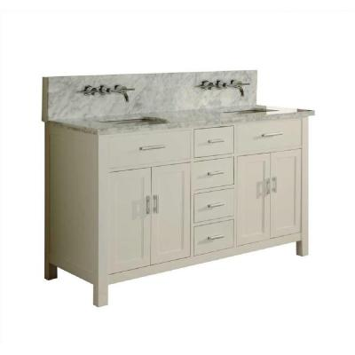 DIRECT VANITY SINK 63D7-WWC-LM SUTTON SPA PREMIUM DOUBLE 63 INCH PEARL WHITE VANITY CARRARA WHITE TOP