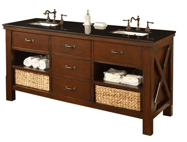 DIRECT VANITY SINK 70D1-ESBK XTRAORDINARY SPA 70 INCH DARK BROWN VANITY WITH BLACK GRANITE TOP