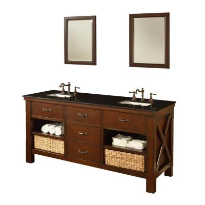 DIRECT VANITY SINK 70D1-ESBK-2M XTRAORDINARY SPA 70 INCH DARK BROWN VANITY WITH BLACK GRANITE TOP AND MIRRORS