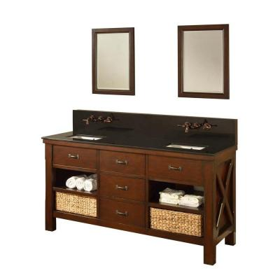 DIRECT VANITY SINK 70D1-ESBK-WM-2M XTRAORDINARY SPA PREMIUM 70 INCH DARK BROWN VANITY WITH BLACK GRANITE TOP AND MIRROR