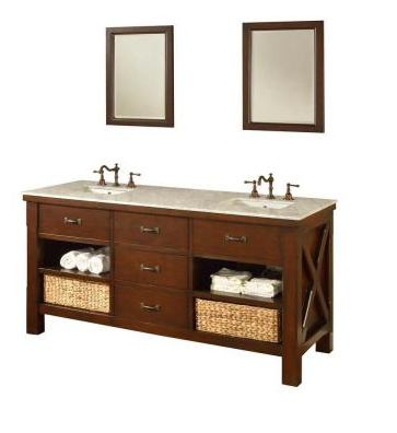 DIRECT VANITY SINK 70D1-ESWC-2M XTRAORDINARY SPA 70 INCH DARK BROWN VANITY WITH CARRARA WHITE TOP AND MIRRORS
