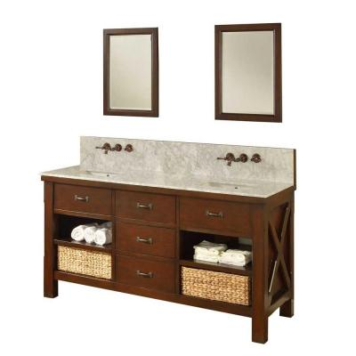 DIRECT VANITY SINK 70D1-ESWC-WM-2M XTRAORDINARY SPA PREMIUM 70 INCH DARK BROWN VANITY WITH WHITE CARRARA TOP AND MIRROR