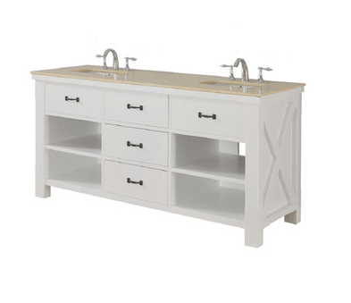 DIRECT VANITY SINK 70D1-WB XTRAORDINARY SPA 70 INCH WHITE VANITY WITH BEIGE MARBLE TOP