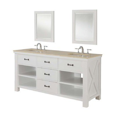 DIRECT VANITY SINK 70D1-WB-2M XTRAORDINARY SPA 70 INCH WHITE VANITY WITH BEIGE MARBLE TOP AND MIRRORS