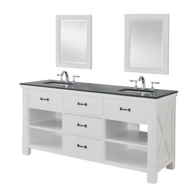 DIRECT VANITY SINK 70D1-WBK-2M XTRAORDINARY SPA 70 INCH WHITE VANITY WITH BLACK GRANITE AND MIRRORS