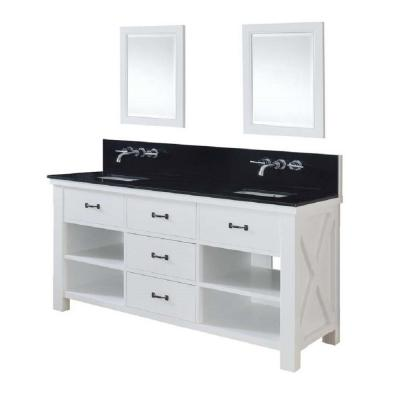 DIRECT VANITY SINK 70D1-WBK-WM-2M XTRAORDINARY SPA PREMIUM 70 INCH WHITE VANITY WITH BLACK GRANITE TOP AND MIRRORS