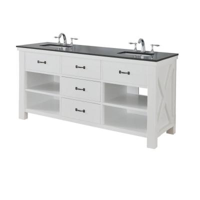 DIRECT VANITY SINK 70D1-WBK XTRAORDINARY SPA 70 INCH WHITE VANITY WITH BLACK GRANITE