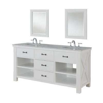 DIRECT VANITY SINK 70D1-WWC-2M XTRAORDINARY SPA 70 INCH WHITE VANITY WITH CARRARA WHITE MARBLE TOP AND MIRRORS