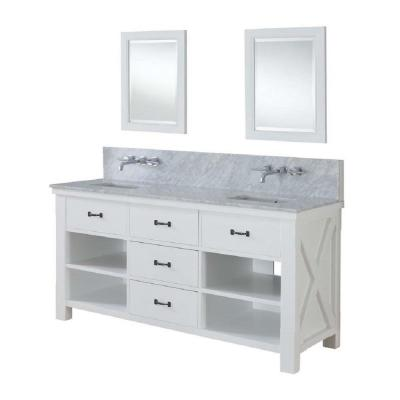 DIRECT VANITY SINK 70D1-WWC-WM-2M XTRAORDINARY SPA PREMIUM 70 INCH WHITE VANITY WITH CARRARA WHITE TOP AND MIRRORS