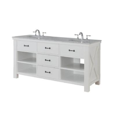 DIRECT VANITY SINK 70D1-WWC XTRAORDINARY SPA 70 INCH WHITE VANITY WITH CARRARA WHITE MARBLE TOP