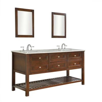 DIRECT VANITY SINK 70D6-ESWC-2M MISSION SPA 70 INCH DARK BROWN VANITY WITH CARRERA MARBLE TOP AND MIRRORS