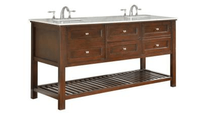 DIRECT VANITY SINK 70D6-ESWC MISSION SPA 70 INCH DARK BROWN VANITY WITH CARRERA MARBLE TOP