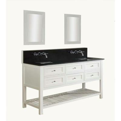 DIRECT VANITY SINK 70D6-WBK-WM-2M MISSION SPA PREMIUM 70 INCH WHITE VANITY WITH BLACK GRANITE TOP AND MIRRORS