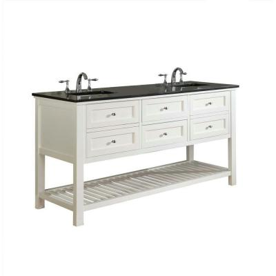 DIRECT VANITY SINK 70D6-WBK MISSION SPA 70 INCH WHITE VANITY WITH BLACK GRANITE TOP