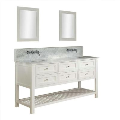 DIRECT VANITY SINK 70D6-WWC-WM-2M MISSION SPA PREMIUM 70 INCH WHITE VANITY WITH CARRARA WHITE TOP AND MIRRORS